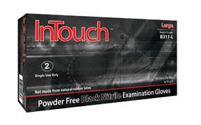 InTouch Black Nitrile PF Gloves - M ATLB311-M | Tool Discounter