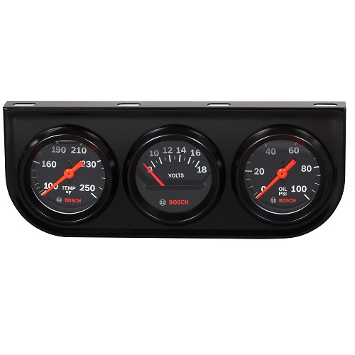 GAUGES, TRIPLE GAUGE KIT, 2 INCH, BLACK - STYLELINE BOSFST8218 | Tool Discounter