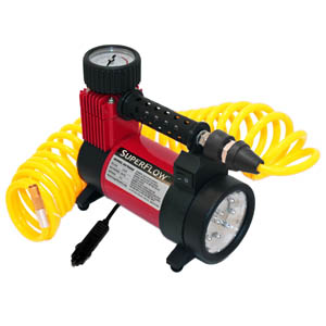 SuperFlow 12V Air Compressor w/LED light & red lens SUPHV-40A2 | Tool Discounter